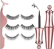 Magnetic Eyelashes and Magnetic Eyeliner,Lavone Magnetic Eyelash Kit,Natural Look Eyelashes,3 Style Eyelashes with Tweezers