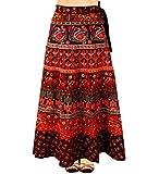 Anmol enterprises Women's and Girl's Cotton Rajasthani Jaipuri Print Long Maxi Wrap Around Skirt (SND65, Multicolour…