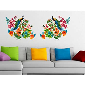 3d4310391ac Decals Design 6900040 StickersKart Wall Stickers Peacock Birds on Colourful  Branch Leaves Wall Design Sofa Background Vinyl (Wall Covering Area  140cm  x ...