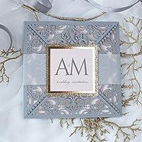 Carta con busta partecipazioni matrimonio taglio laser fai da te grigio opaco inviti matrimonio - campione prestampato…