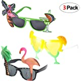 Howaf 3 Pairs Hawaiian Glasses Novelty Party Sunglasses Eyewear for Kids & Adults Beach Summer Tropical Party Fancy Dress Up