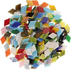 Segolike 300 Pieces Rhombus Shape Mixed Color Glass Mosaic Tiles Tessera for Mosaic Making Crafts Supplies 12mm