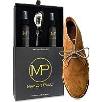Scatola lucido da scarpe 3 in 1 per camoscio, scamosciato, nabuk e velluto | detergente, nutriente, impermeabilizzante…