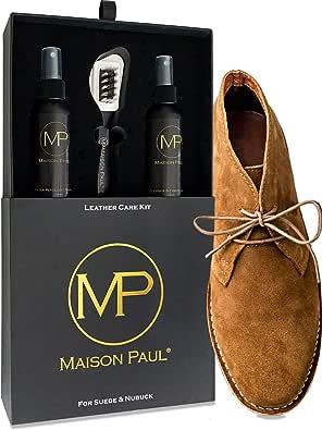 Maison Paul Coffret d'Entretien 3 en 1 pour daim, suede, nubuck et velours | nettoyant, nourrissant, imperméabilisant | kit d'entretien pour chaussure, basket, sac, vêtement