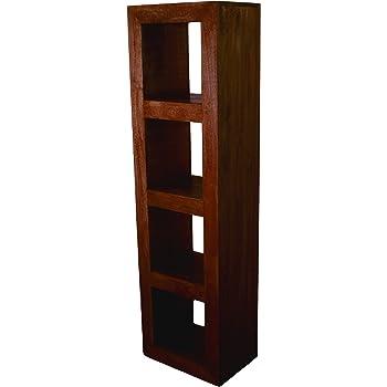 Dark Hand Crafted Furniture Homescapes 100/% Solid Mango Hard Wood - 4 Hole Book Case//Display Shelf//End Table No Veneer Dakota
