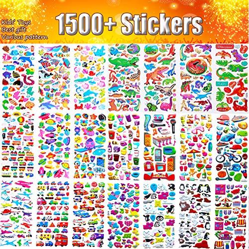 Aufkleber für Kinder, 48 Blatt Keine Wiederholung 3D Puffy Aufkleber , 1500+, Massenaufkleber für Mädchen, Scrapbooking, Lehrer, Kleinkinder, darunter Cartoons, Tiere, Autos, Obstgemüse und mehr -