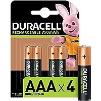 Duracell Piles Rechargeables AAA 750 Mah, lot de 4 piles
