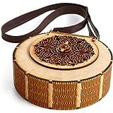 Hand Bag Round MDF Wooden Laser Cut Decorative Stylish Purse for Girls Women