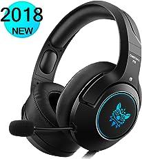 DIZA100 Gaming Headset für PS4 Xbox One PC, Gaming Kopfhörer mit Noise Cancelling Mikrofon Buntes LED-Licht Bass Surround für Nintendo Switch Laptop Smartphones (Black)