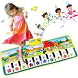 EXTSUD Tappeto Musicale Bambini Tastiera Pianoforte Musichette Giocattolo Educativo Tappetino da Gioco Volume Regolabile 100x