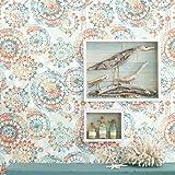 RoomMates RMK9126WP Orange and Blue Boho Medallion Peel and Stick Wallpaper