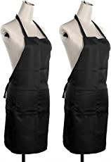 Star Bazaar Polyester Waterproof Aprons (Free Size/22x30-inch, Black,) - Set of 2