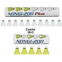 NONGI Combo Plastic Badminton Shuttlecock Pack of 15(10 White + 5 Yellow)