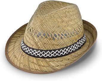 Cappello di paglia da vendemmiatore (protezione dal sole) per Lui e per Lei | Cappello da sole modello trilby | Cappello di paglia per l'estate in spiaggia o in vacanza | varie misure | Naturale