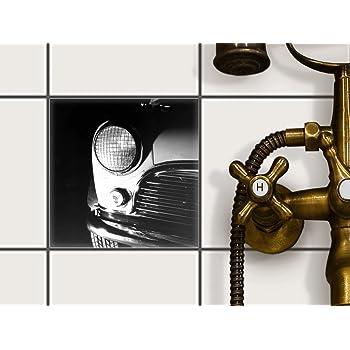 Creatisto Fliesentattoo Dekosticker | Fliesen Aufkleber Folie Sticker  Selbstklebend Küche Renovieren Bad Küchen Ideen | 15x15 Cm Design Motiv  Retro Car   1 ...