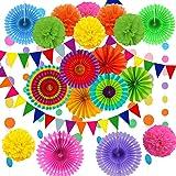Cojoy 21 st festdekorationsset, hängande pappersfläktar, pompom-blommor, pappersflaggor och polkaprickig sträng för födelseda