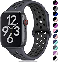 Hamile Correa para Apple Watch 38mm 42mm 40mm 44mm, Doble Color Pulsera de Repuesto de Silicona Suave Transpirable...