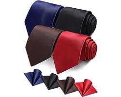 Vinlari ® Men's Tie Handkerchief Set(4 pack), Silk Pocket Square Tie Set Gift for Man, Ties for Men Business Suit, Wedding Pa