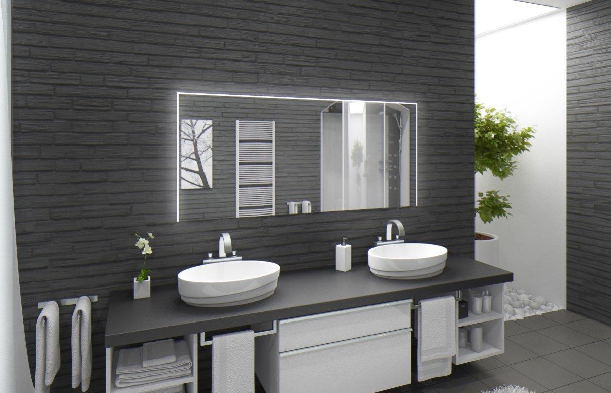 Neu Badspiegel mit Beleuchtung Santa Rosa M220L3: Design Spiegel für  AH38