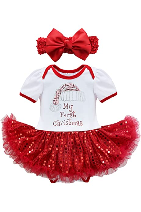 CHICTRY Girls Mrs Claus Costume Sparkle Sequins Christmas Santa Tutu Princess Party Dresses with Hat/&Sleeves