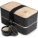 UMAMI Lunch Box, Cadeau Idéal Homme/Femme, Tout Inclus : 4 Couverts En Bois & 1 Pot À Sauce (Vissable), Boîte Bento Japonaise