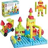 Bebamour 68PCS Tube Lock Building Blocks Early Educational Kid Building Blocks DIY Toys Plugging Toy Assemble Car Constructio