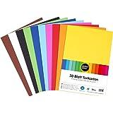 perfect ideaz 50feuilles de papier cartonné A4, carton de bricolage, teinté dans la masse, en 10coloris différents, grammag
