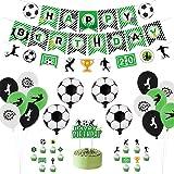Decoración para fiestas de fútbol, incluyendo pancartas de Happy Birthday, bandera de fútbol, globos con temática de fútbol,
