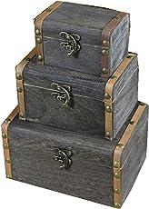 Satyam Kraft Wooden Vintage Storage Treasure Chest Box ( Grey, Set Of 3)