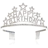 SWEETV Happy Birthday Corona Principessa Compleanno Tiara Strass Diadema Bambini Capelli Accessori