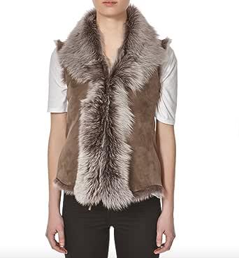 A to Z Leather Donna camoscio Taupe con Snowtip Colorata Shearling Pelliccia Cascata Corto Gilet/Panciotto (Maniche Body Warmer)