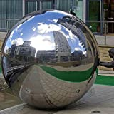 Patio Sfera decorativa lucidata in acciaio inox V2A con un Diametro di 38cm per Giardino sfera cava uso come galleggiante in laghetto stagno decorazione casa completamente impermeabile Terrazza