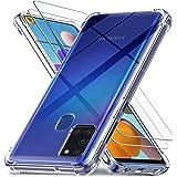 Ferilinso Fundas para Samsung Galaxy A21S con 2 Piezas Protector de Pantalla, Funda Transparente para Samsung Galaxy A21S, Pe