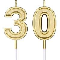 Bougies de 30e Anniversaire Bougies de Numéro de Gâteau Bougies de Gâteau Joyeux Anniversaire Décoration de Topper pour…