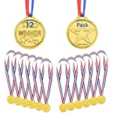 Gold Winner Medals 12 Pieces, Kids Children's Plastic Winner Award Medals Olympic Style Medal with Neck Ribbons, Personalised