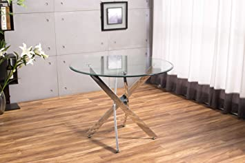 New Novara Chrome Round Circular Glass Round Dining Table And 4