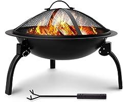 Amagabeli Brasero Extérieur Portable Brasero de Jardin 52cm Brasero Barbecue Exterieur terrasse avec Grille Capot étincelles