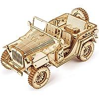 ROKR Car en Bois à Construire - 3D Puzzle Maquette Bois - Maquette mécanique pour des Enfants et des Adulte (Army JEE