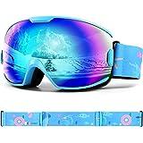 Odoland Gafas de Esquí para Niños de 8-16 años, Gafas de Snowboard Compatibles con Casco para Niños y Niñas con Protección UV