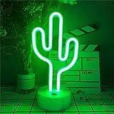 ENUOLI LED Kaktus Leuchtreklamen Neonlicht mit Halter Basis Neon Nachtlampe Neon Nachtlicht Batterie/USB-betriebenes Led Neon