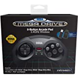 Retrobit - Sega Mega Drive Manette 8 boutons sans fil 2.4Ghz - Dongle USB/Port d'Origine inclus - Edition Noir