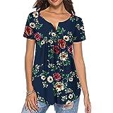 Cyiozlir Camiseta de verano para mujer, diseño de flores, manga corta, cuello en V, tira de botones, plisada