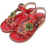 Camfosy Damer läder vandring sandaler, sommar utomhus handgjorda sandaler platta semester fritid skor justerbar kardborrestän