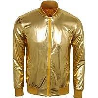 CUSFULL Metallic Nightclub Baseball Varsity Bomber Jacket Party Dance Shiny Zip Up Costume Casual Slim Fit Jacket