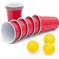 Lot de 50 gobelets rouges en plastique de 473 ml, avec 3 balles de tennis de table et manuel d'instruction (français non…