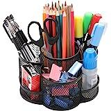 Porte-crayons bureau rotatif, Porte-stylo en métal pour le bureau avec tapis en caoutchouc antidérapant, rotation à 360 ° et