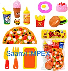 HMC Plastic Kitchen/Restaurant Role Pretend Pizza Cutting Play Fast Food Set (Multicolour)