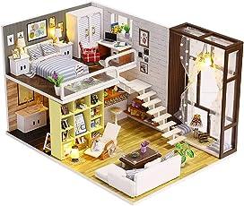 Hunpta@ DIY Miniatur Haus, 3D Holz Möbel LED Haus Puzzle Dekorieren Kreative Geschenke (A)