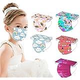 50 Stück Kinder Mundschutz Einweg 3D Druck Mund und Nasenschutz Halstuch Masken Cartoon Motiv 3-lagig Einmal Mund-Tuch Staubd