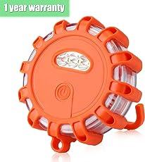 AMBOTHER® Warnleuchte Rundumleuchte LED Batterie Warnlicht Warnblinkleuchte mit Magnet 10 Leuchtmodi Sicherheitsbeleuchtung für Notfall Pannenhilfe 5W 150 Lumen (orange)